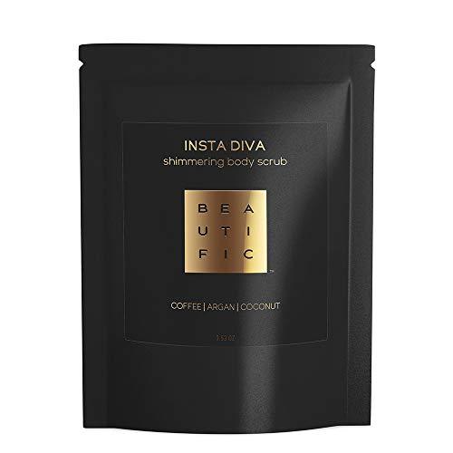 BEAUTIFIC Natural Shimmering Body Scrub | INSTA DIVA | Slimming Cellulite Remover | Coffee & Sugar Body Scrub Exfoliator | Argan & Mango and Coconut Oils 3.53 oz