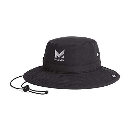 "Mission Cooling Bucket Hat- UPF 50, 3"" Wide Brim, Cools When Wet- Black"