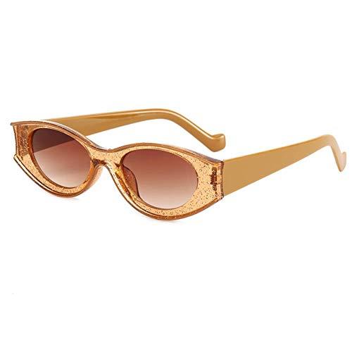 DovSnnx Gafas De Sol Unisex para Hombres Y Mujers Polarizadas Protección UV400 Clásico Vintage Moda Sunglasses Lente De Té con Marco De Té Ovalado con Purpurina En Contraste