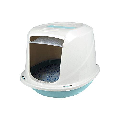 PATAM Lettiera per Gatti Coperta – Toilette per Gatti con Filtro Anti Odore 45 x 36 x 32,5 cm Comfort Mini Azzurro