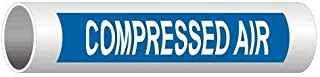Compressed Air (White Legend On Blue Background) ASME A13.1 Pipe Label Decal, 8x2 inch 5-Pack Vinyl for Pipe Markers by ComplianceSigns