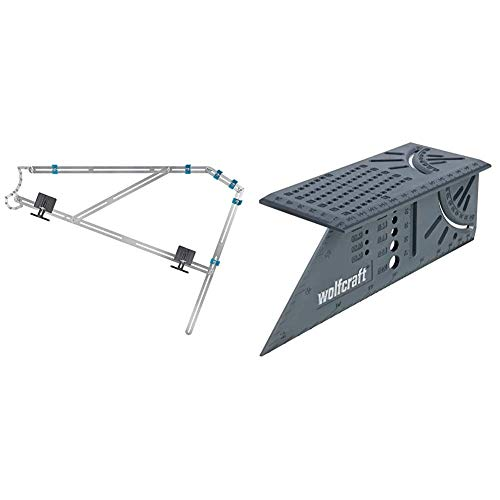 wolfcraft Treppenlehre 5210000 – Messwerkzeug für den Treppenbau & I 3D-Gehrungswinkel I 5208000 I zum Bearbeiten von dreidimensionalen Werkstücken I Anschläge für 45°- und 90°-Winkel