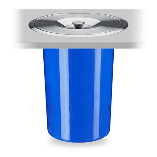 Relaxdays 10035444 Poubelle Plan de Travail, 8 l, encastrable, déchets organiques, avec Couvercle en INOX, HxD 30 x 26,5 cm, Bleu, 1 élément