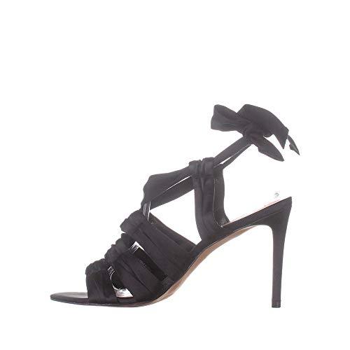Avec Les Filles Womens Janelle Satin Open Toe Special, Black Satin, Size 10.5