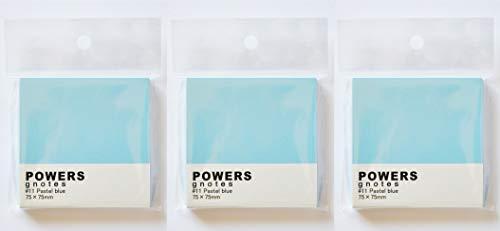 プリントインフォームジャパン gnotes 粘着力と糊面積アップふせん 「POWERS」75×75mm 【3個セット】 (パステルブルー)