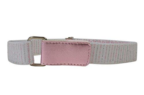 Cinturón Elástico para Niñas 1-6 Años con Hook y Loop Fijación. Blanco con Rosa/Plata