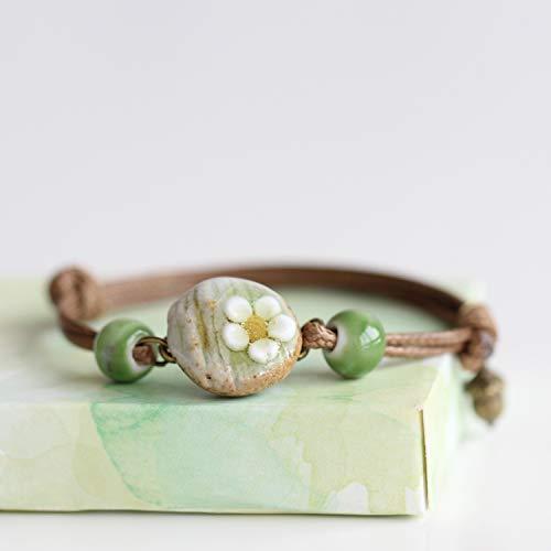 BSNOVT 1 pulseira moderna para mulheres estilo étnico senhora feminina feita à mão contas de porcelana pulseiras de corda #1499
