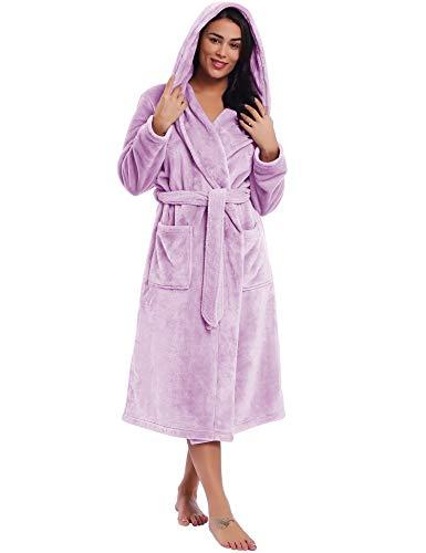 Women Plush Fleece with Hoodie Robe Ladies Warm Fuzzy Bathrobe Plus Size(Lavender, XL)