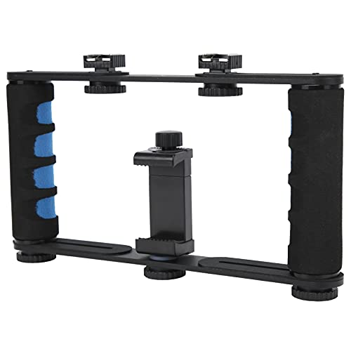 Zunate Soporte para cámara, Aluminio Negro Soporte para cámara de Video para teléfono Inteligente Estabilizador de cámara de Mano Dual Soporte para Selfies, con Interfaz de Tornillo de 1/4 de Pulgada