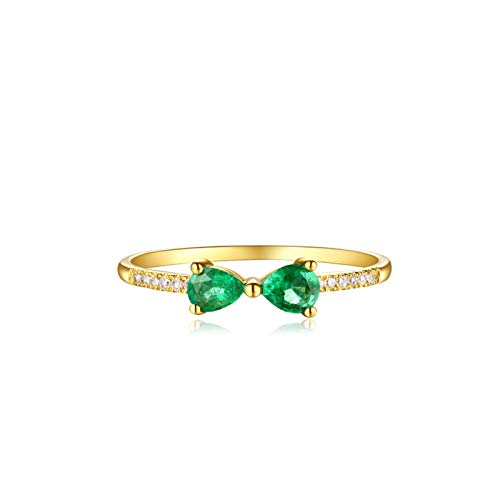 AueDsa Ring Gold 18K Rose Gold/18K Gold Engagement Rings for Women Tiny Bowknot Ring with Emerald Ring Size J 1/2