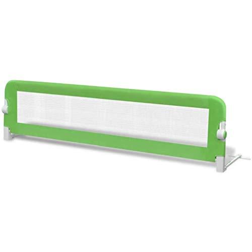 yorten Barandilla de Seguridad Cama de Niño Tela de Poliéster y Tubo de Metal 150x42 cm Verde