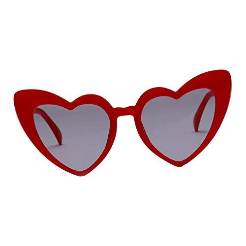 Amuzocity Gafas de Sol en Forma de Corazón Gafas de Sol de Estilo Retro Gafas de Club de Fiesta UV400 - Rojo