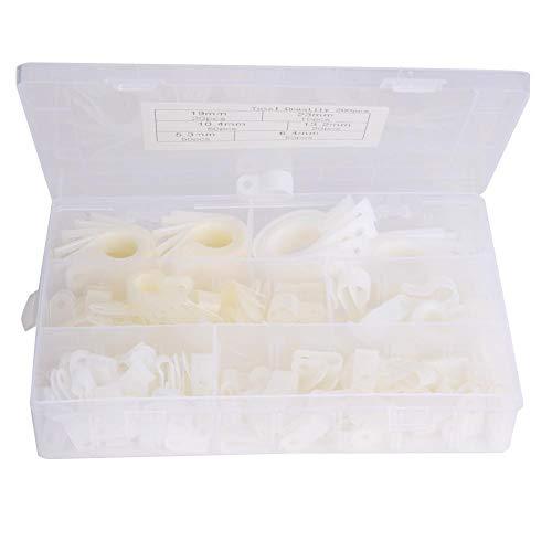 200 Stück Kunststoff-Nylon-Kabelklemme R-Typ P-Typ Drahtclip-Befestigungselemente Verschiedene Box 5.3R 3/16 6.4R 1/4 10.4R 3/8 13.2R 1/2 19R 3/4 23R 1(Weiß)