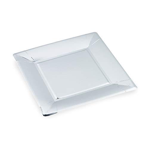 Le Nappage - Placas de cartón reciclado Plateado Metálico - Cuadrado 24 x 24 cm - Juego de 10 Placas de cartón rígido desechables