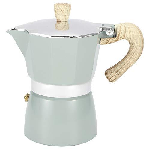 Cafetera espresso, cafetera moka de aluminio octogonal, filtro de cafetera de estilo italiano clásico para el hogar y la cafetería, azul lago(300ML 6Cup)