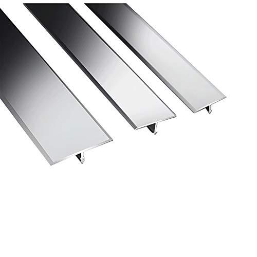 NIBABA Easy to Install Alfombra de Perfil Transición Transition Trim Laminado 2 Paquete 1.5M T Forma T Puerta de Aluminio Barras de Piso Gris Barras de umbral Aluminum Alloy Floor Strips