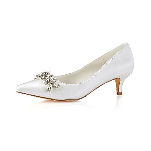 Emily Bridal Zapatos de Novia de Marfil en Punta de Diamantes de...