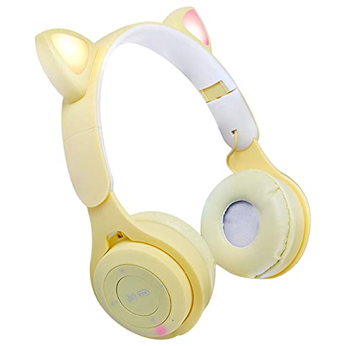 tanbea-ES Auriculares De Oreja De Gato, Cascos Inalámbricos LED Bluetooth 5.0, Auriculares Plegables para Colocar sobre La Oreja con Micrófono para Tableta/Teléfonos Functional