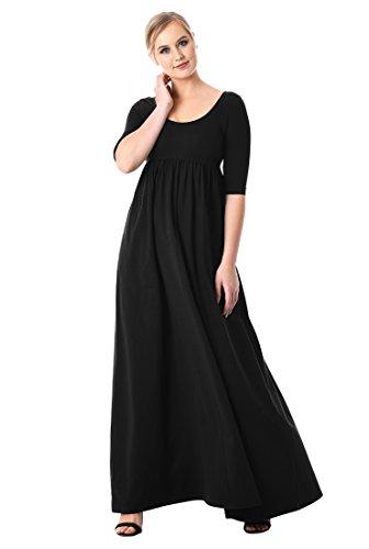 eShakti FX Cotton Knit Empire Maxi Dress Black