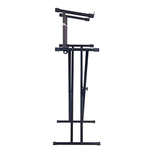HEALLILY Piano Keyboard Stand 2 Tier Adjustable Electronic Piano Stand X-Frame Keyboard Holder Rack for Home Studio
