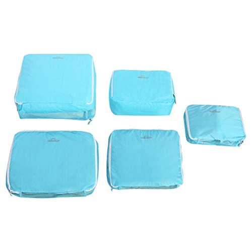 HERCHR Cubos de Embalaje de 5 Piezas para Viajes, Bolsas organizadoras de Viaje Bolsas de Embalaje para Equipaje(Azul)