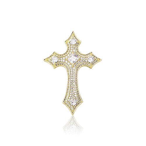 NCDFH Hip Hop Claw Setting Stone Bling Iced Out Knights Templar Cross Pendants Necklaces for Women Men Rapper Jewelry Gift Gold 24inch
