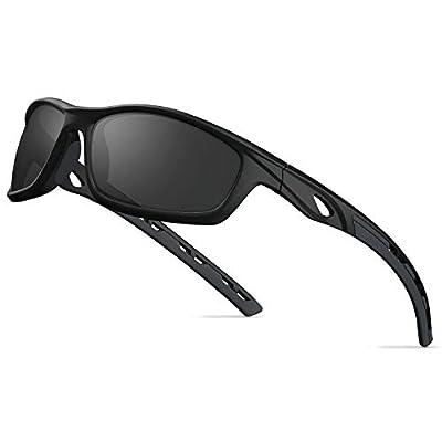 TOREGE Polarized Sports Sunglasses For Man Women Cycling Running Fishing Golf TR90 Unbreakable Frame TR08 (Matte Black&Black&Grey Lens)