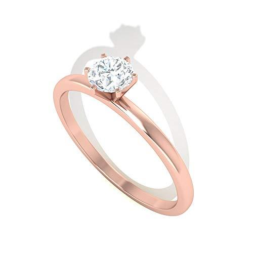 1 Karat Diamant IGI Certified Verlobungsring, HI-SI Farbe Klarheit Diamant Braut Ring, Solitär Arbeitskleidung Partywear Ring, Gold Hochzeit Versprechen Ring, 10K Roségold, Size:EU 44