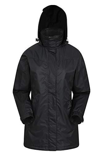 Mountain Warehouse Guelder Womens Long Jacket - Waterproof Rain Coat, Zipped Ladies Coat, Taped Seams, Pack Away Hoodie, Casual Jacket - for Autumn Travelling Black 18