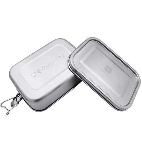 KLEEBLATT® Brotdose aus Edelstahl 800 ml Lunchbox aus Metall mit flexiblen Fächern & Bügelverschluss, Dichtung auslaufsicher - für Kinder & Erwachsene plastikfrei BPA-frei Lebensmittel-echt (TÜV)
