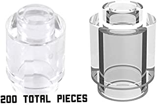 LEGO Transparent Trans Clear Brick Round 1x1 with Open Stud x200 Count
