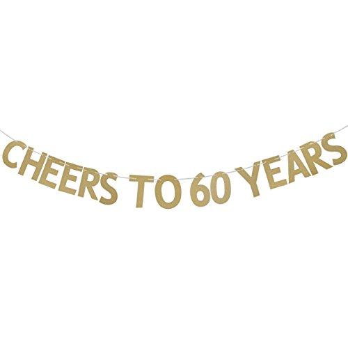 Rosenice - Girlande mit goldenen Glitzer-Buchstaben, 3m, Wimpelkette, Dekoration zum Aufhängen, für 60. Geburtstag/Jahrestag