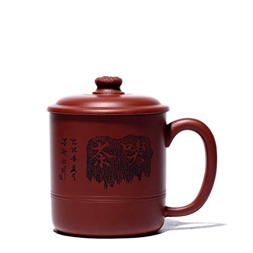 LPLHJD Teapot Coppa Ore Big Red Power analogico Coperto Coppa a Mano-Business Ufficio Holiday Gifts Cup (Color : Purple Mud)
