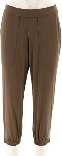 Lisa Rinna Banded Bottom Knit Crop Pants A287832, Dark Taupe, Petite X-Large
