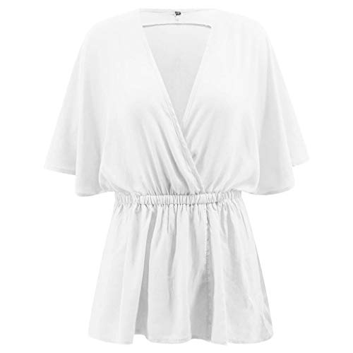 CAOQAO Damen Mode LäSsig Tunika Solide Lose FledermausäRmel V-Ausschnitt Shirt Top Karnevalsparty Kurzarm Neon Kurze ÄRmel(S,Weiß)