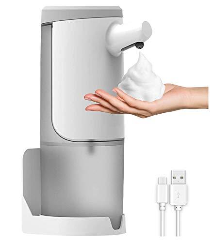 Dispensador de jabón automático, dispensador de jabón en espuma de 450 ml, cargador USB y dispensador de desinfectante de manos IPX4, pulverizador sin contacto para cocina, oficina, escuela, hotel