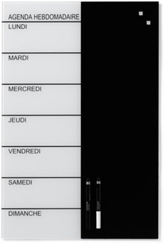 NAGA, Magnetglas-Wochenplaner, Schwarz Weiß, Französisch, 40x60cm B00DQMK810 | Niedriger Preis Preis Preis und gute Qualität  e12056