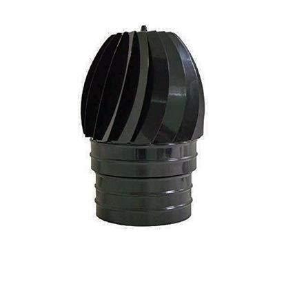 Sombrero para chimenea y estufas Extractor de humos Giratorio color Negro vitrificado diámetro 100mm