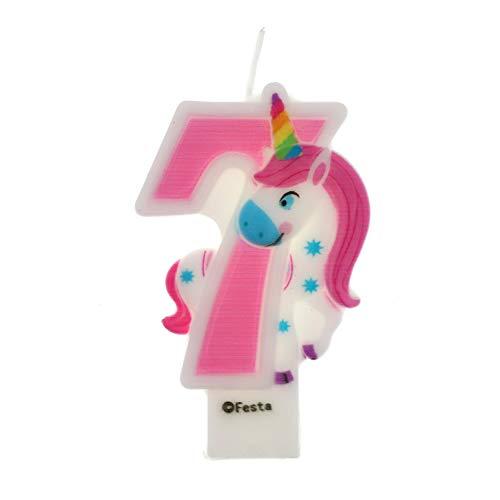 Velas de Cumpleaños Diseño Unicornio de 9cm, Adecuadas para fiesta de Cumpleaños para Niños Niñas Color Rosa blanca Numero 7