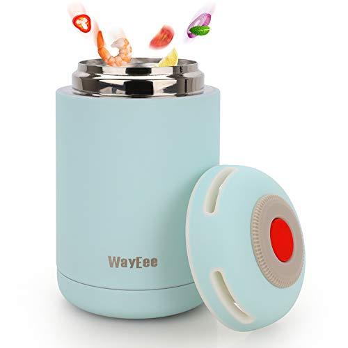 WayEee Termo para Comida 460ml Frasco Térmico de Acero Inoxidable para Alimentos y Bebidas, Termo para Sólido y Líquido, Cafe Pures para Adultos Bebes (Azul)