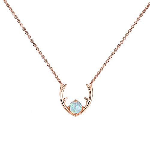 PAVOI 14K Rose Gold Plated White Opal Deer Antler Necklace 16-18'