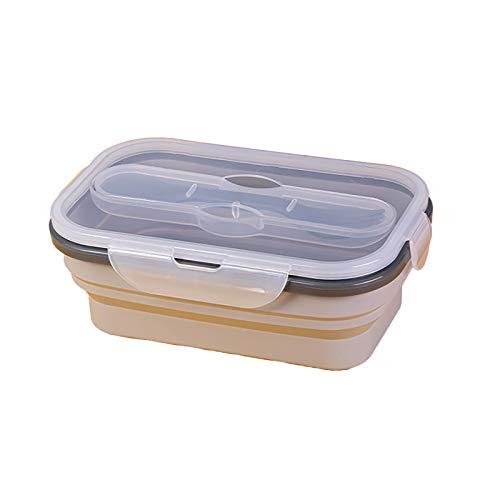 Single Grid Lunch Containers Outdoor Folding Silicone Bowl Portable Tableware Stretch for Kids Gray