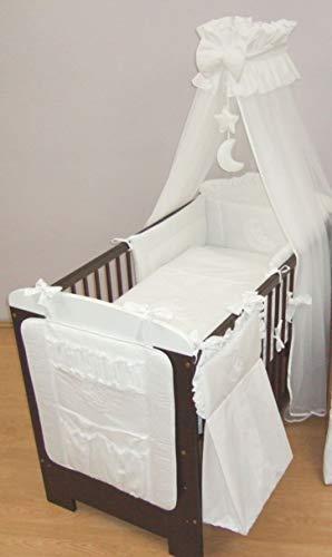 Parure de lit bébé brodé, de 13 pièces pour lit, Sac à Langer, volants pour lit d'enfant, lit (pour s'adapter à lit 140 x 70 cm) – Motif cœurs Blanc