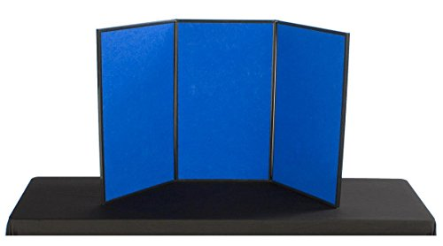 3-Panel Table Presentation Board, 54 x 30 - Blue Hook & Loop Fabric and White, Dry-Erase Write-on Panels