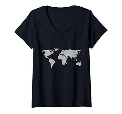 Femme Silhouette de la carte du monde Continents, Océans et Terre T-Shirt avec Col en V