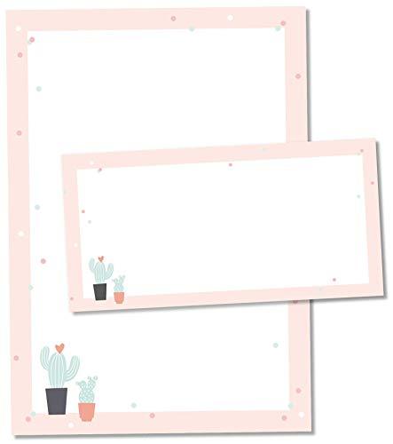 TYSK Design Briefpapier Kaktus Rosa (Design wählbar) 50 Blatt DIN A4, 25 Umschläge - Papier-Set mit Motiv, Schreibpapier, Designpapier für Briefe, Notizen