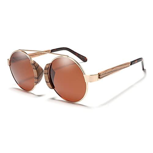 Qianghua Gafas de Sol polarizadas para Hombres y Mujeres Gafas de Sol Retro Redondas de Madera Protección contra Rayos UVA/UVB 100% para piloto Ciclismo Conducción Golf,A