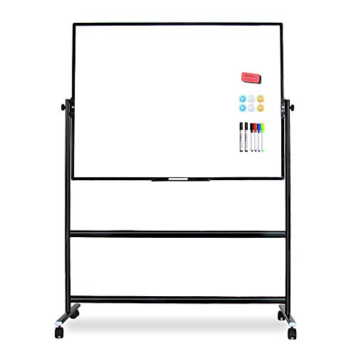 VIZ-PRO Double-Sided Magnetic Mobile Whiteboard, Height Adjustable, Dry Erase Board with 6 Markers, 6 Magnets, 1 Eraser and 2 Hooks,48 x 36 Inches, Black