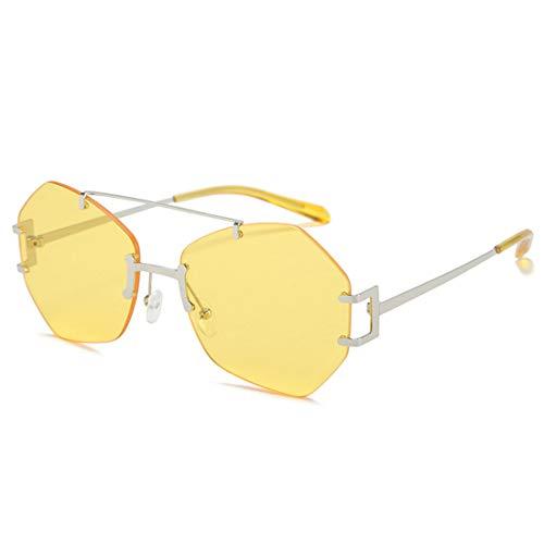 HFSKJ Gafas de Sol, Gafas de Sol sin Montura Irregulares, Gafas de Todo fósforo para Mujer, Gafas de Sol de Moda callejera para Adultos,C