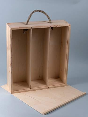 Caja de regalo de madera para vino de 3 botellas
